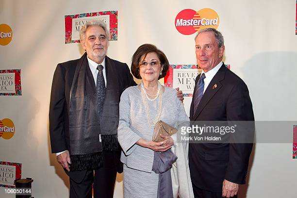 Placido Domingo wife Marta Ornelas and New York Mayor Michael Bloomberg attend the Revealing Mexico Week opening night reception at the Top of the...