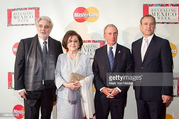 Placido Domingo wife Marta Ornelas New York Mayor Michael Bloomberg and Mexican ambassador Arturo Sarukhan attend the Revealing Mexico Week opening...