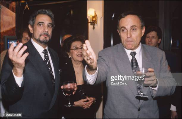 Placido Domingo with his wife Marta Domingo and Mayor Rudy Giuliani at the opening of his restaurant 'Domingo' at 209 E49th St, NYC, November 1997.