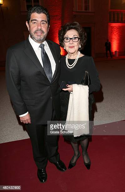Placido Domingo's wife Marta Ornelas and his son Alvaro attend the 40 year stage anniversary of Placido Domingo during the Salzburg Festival on July...