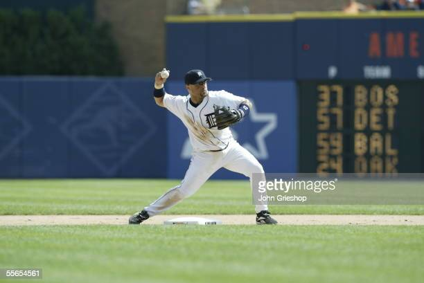Placido Polanco of the Detroit Tigers fields during the game against the Boston Red Sox at Comerica Park on August 17, 2005 in Detroit, Michigan. The...