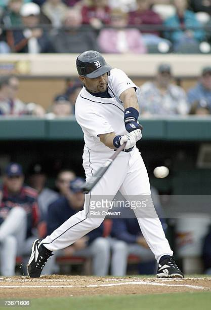 Placido Polanco of the Detroit Tigers swing at the pitch during a Spring Training game against the Cleveland Indians on March 32007 at Joker Marchant...