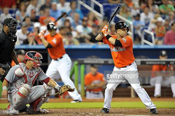 Placido Polanco of the Miami Marlins at bat in the fifth inning against the Washington Nationals at Marlins Park on July 14 2013 in Miami Florida