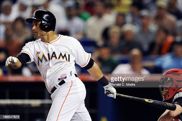 Placido Polanco of the Miami Marlins bats during a MLB game against the Atlanta Braves at Marlins Park on April 8 2013 in Miami Florida