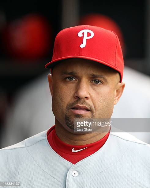Placido Polanco of the Philadelphia Phillies stands in the dugout before their game against the San Francisco Giants at ATT Park on April 17 2012 in...