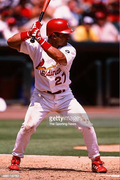 Placido Polanco of the St Louis Cardinals bats against the Chicago Cubs at Busch Stadium on July 27 2002 in St Louis Missouri The Cubs defeated the...