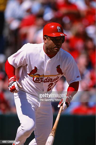 Placido Polanco of the St Louis Cardinals bats against the Cincinnati Reds at Busch Stadium on May 19 2002 in St Louis Missouri The Cardinals...