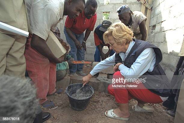 Placing the first stone of a hospital at Ziguinchor where a reeducation center had been built