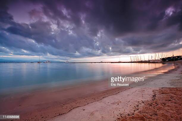 plage de la salis - antibes  french rivier - antibes stock photos and pictures