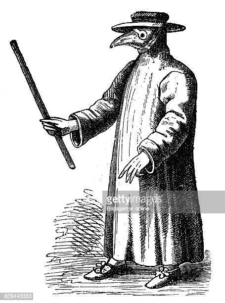Plague doctor from 17th century, woodcut, historical engraving, 1880