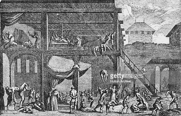 Plague hospital in Vienna during the Great Plague of Vienna, Austria, 1679. The disease, thought to be the bubonic plague, claimed around 76,000...