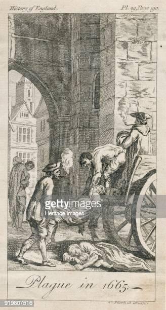 Plague in 1665', circa 18th century. View showing plague victims being loaded onto a 'dead cart' on Holywell Lane, Shoreditch, London, for burial....