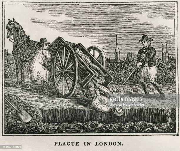 Plague in London, 1665-66, Illustration from the Book, Historical Cabinet, LH Young Publisher, New Haven, 1834.