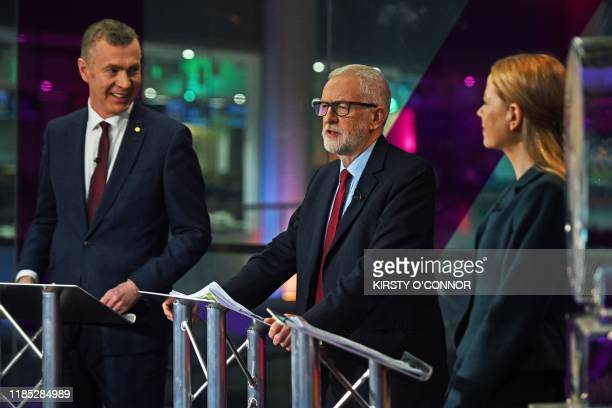 Plaid Cymru leader Adam Price Labour Party leader Jeremy Corbyn and Green Party coleader Sian Berry practice ahead of the Channel 4 News Climate...