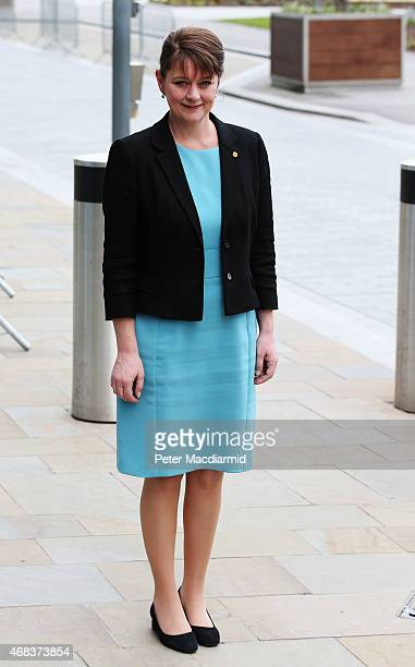 Plaid Cymru leader Leanne Wood arrives at MediaCityUK on April 2 2015 in Manchester England Tonight sees a televised leaders election debate with...
