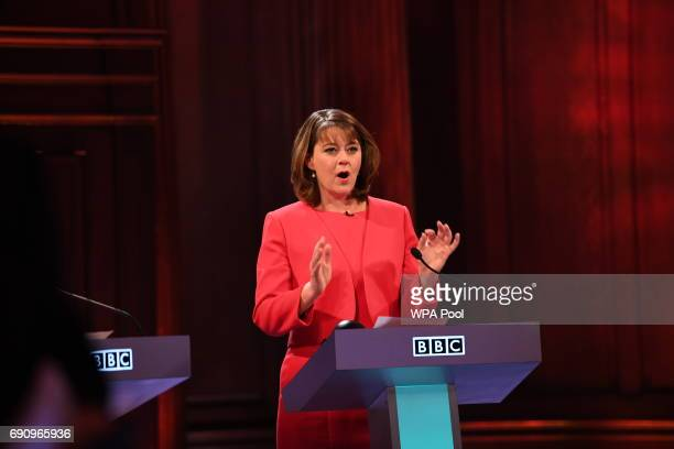 Plaid Cymru leader Leanne Wood takes part in the BBC Election Debate hosted by BBC news presenter Mishal Husain as it is broadcast live from Senate...