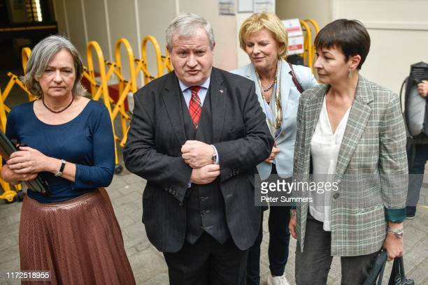 Plaid Cymru MP Liz SavilleRoberts SNP MP Ian Blackford MP Independent Group for Change Anna Soubry and Green Party MP Caroline Lucas speak to media...
