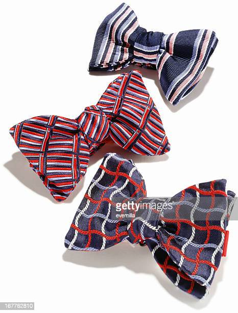 Plaid mens bowties against white background
