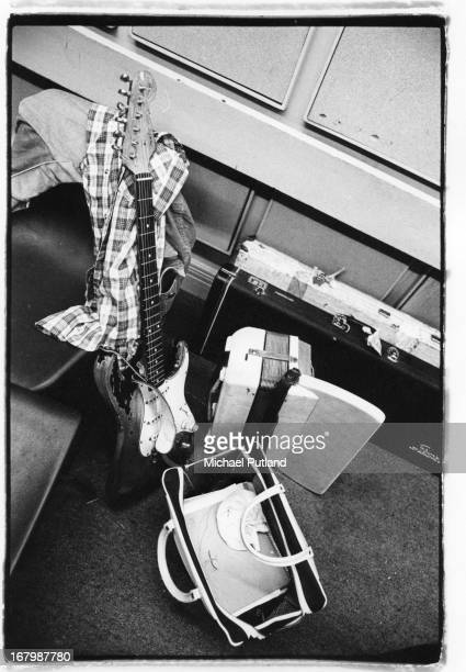 A plaid shirt and 1961 Fender Stratocaster guitar belonging to Irish singer and guitarist Rory Gallagher circa 1972
