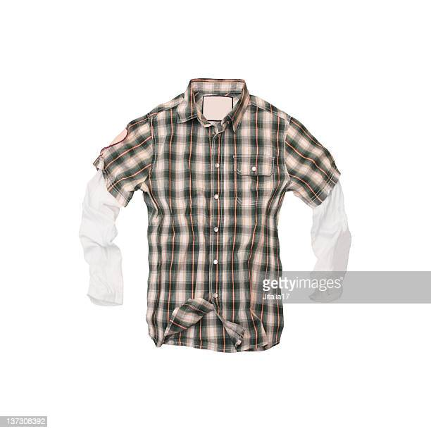 Plaid Twofer Shirt on White Background
