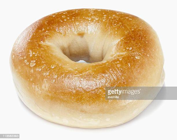 Plain bagel on a white background