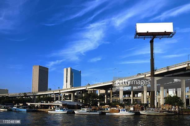plain billboard over miami river downtown landmark