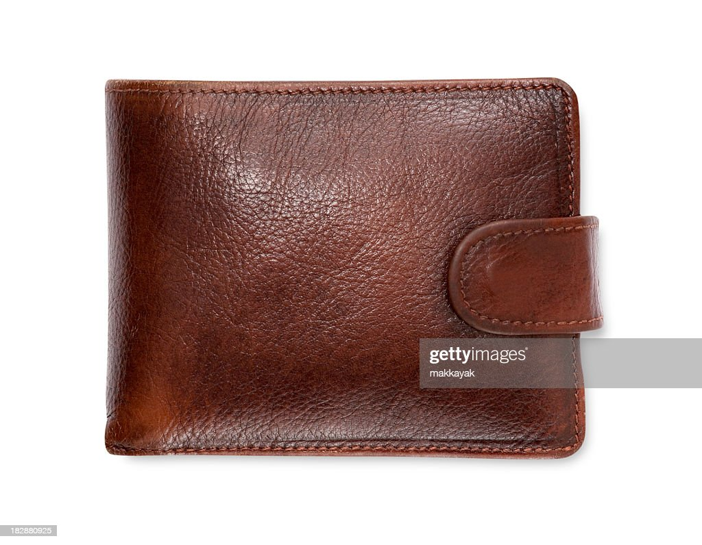 Plain brown leather wallet isolated on white background : Stock Photo