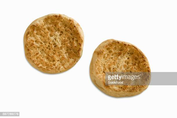 Plain Toasted English Muffin on White Background