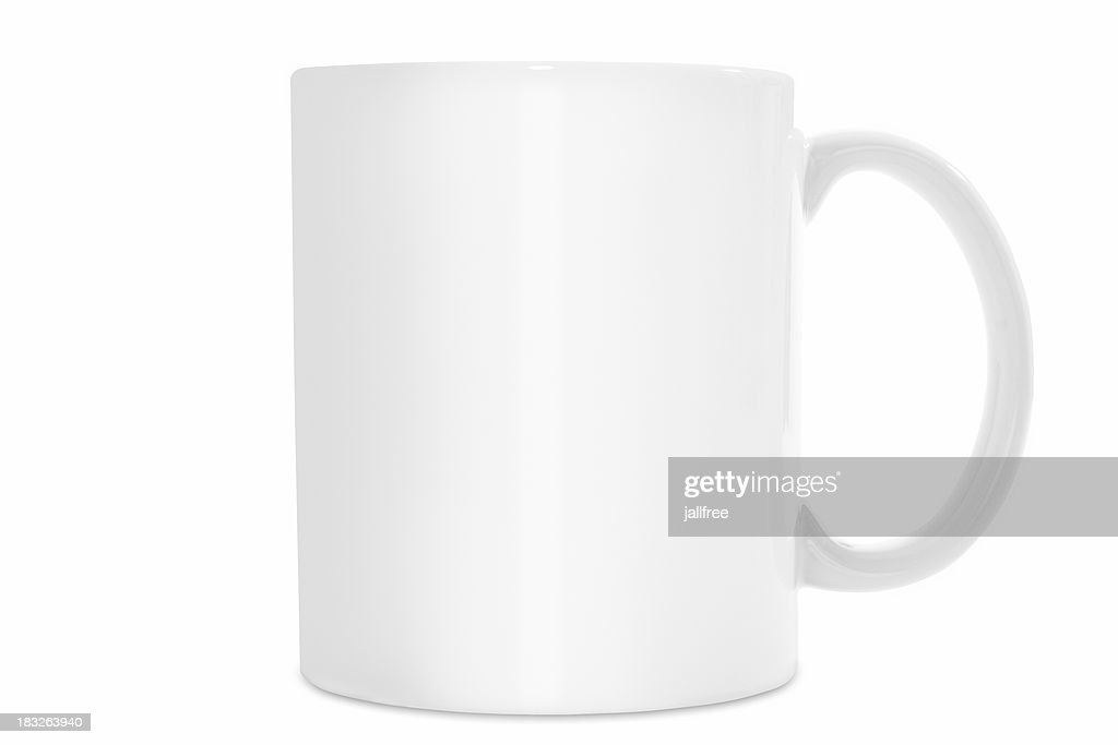 Plain White Coffee Mug Isolated On Background With Path Stock Photo