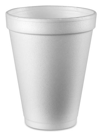 A plain white Styrofoam cup on white background 153156440