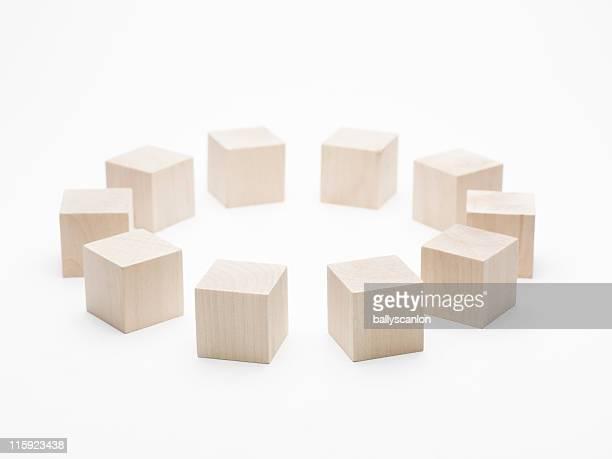 Plain Wood Blocks In A Circle.