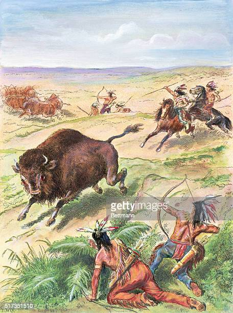 Plains Indians hunting buffalo French colored engraving Undated image