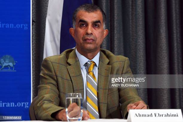 Plaintiff and former political prisoner Ahmad Ebrahimi attends a press conference organised by The UK Representative Office of the National Council...