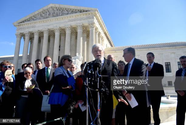 Plaintiff Bill Whitford speaks outside of The United States Supreme Court after an oral arguments in Gill v Whitford to call for an end to partisan...