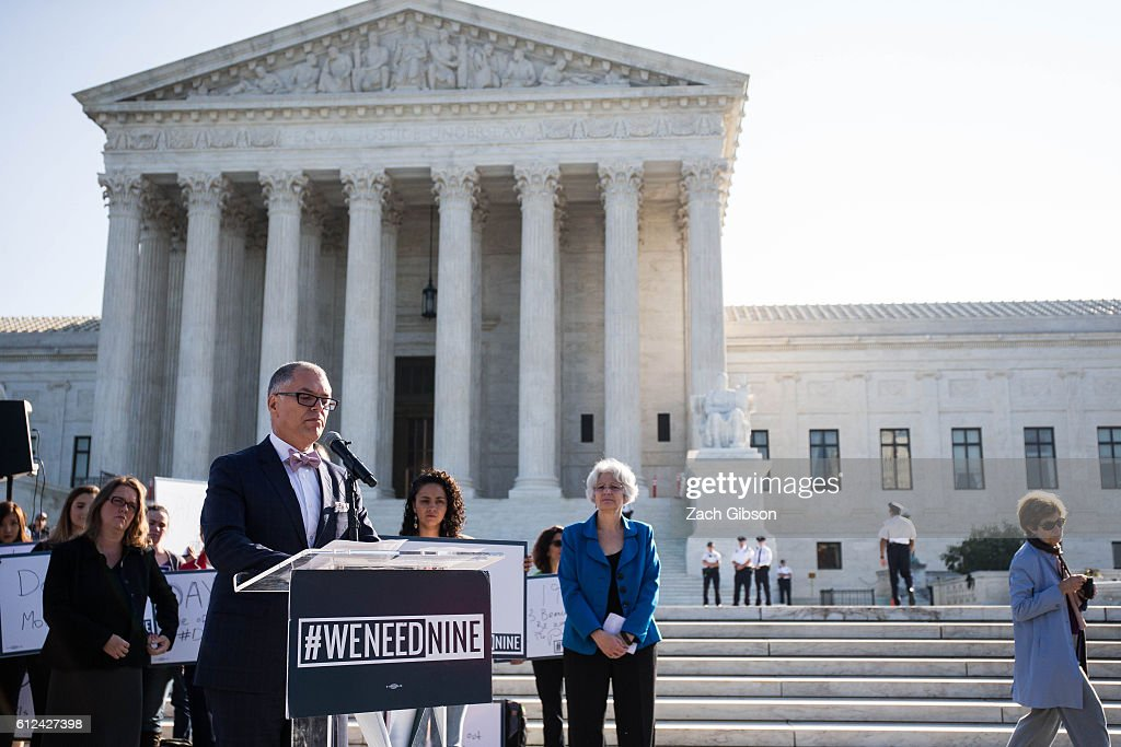 Plaintiff in the Obergefell v. Hodges Supreme Court case Jim Obergefell speaks during a rally urging the U.S. Senate to hold a confirmation vote for Supreme Court Nominee Merrick Garland outside of The Supreme Court of the United States on October 4, 2016 in Washington, DC. Today marks the 202nd day since President Barack Obama nominated Judge Garland to fill the vacancy left after former Justice Antonin Scalia passed away in February.