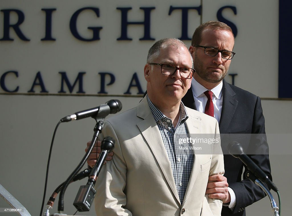 Plaintiff James Obergefell (L) is flanked by Human Rights Campaign President Chad Griffin (R), speaks about his case before tomorrow's arguments at the US Supreme Court April 27, 2015 in Washington, DC. Tomorrow the high court is scheduled to hear arguments in the case of Obergefell v. Hodges, that will ultimately decide whether states will still be allowed to ban same sex marriage and refuse to recognize the rights of couples married in other states.
