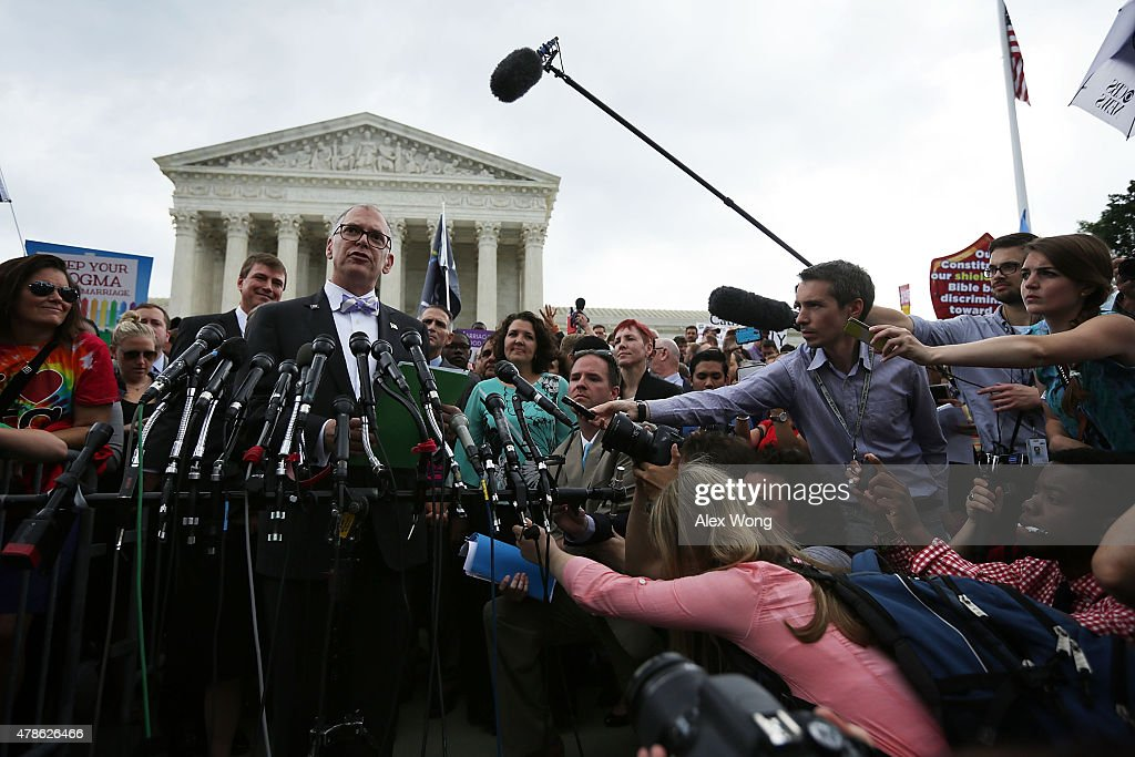 Plaintiff Jim Obergefell speaks to members of the media after the U.S. Supreme Court handed down a ruling regarding same-sex marriage June 26, 2015 outside the Supreme Court in Washington, DC. The high court ruled that same-sex couples have the right to marry in all 50 states.