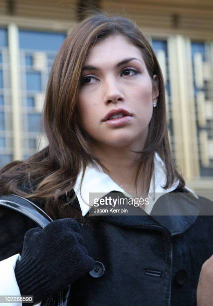 Plaintiff Milana Dravnel appears at court over a lawsuit with boxer Oscar De La Hoya over sexy lingerie photos at the Southern District Federal Court...