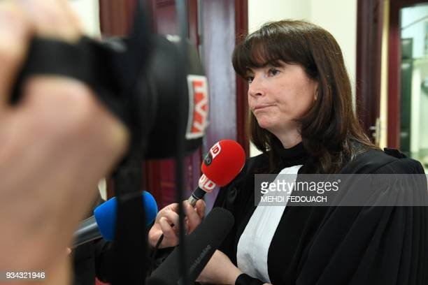 Plaintiffs' lawyer Sandrine JoinauDumail answers journalists' questions on March 19 2018 at Bordeaux's courthouse prior to the opening hearing of the...