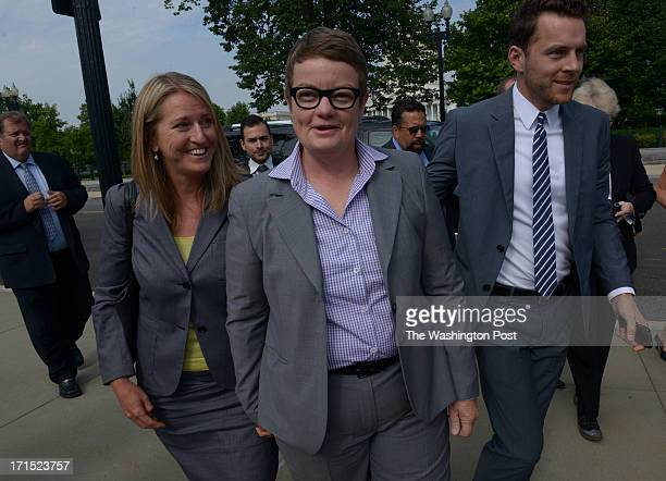 Plaintiffs Sandy Stier, left, and Kris Perry arrive at the US Supreme Court, wich is expected to hand down decisions in the D.O.M.A. Case, on June...