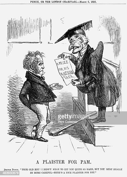 'A Plaister for Pam' 1858 Like a whipped schoolboy and rubbing his bruises Palmerston is receiving from Mr Punch a 'consolation' prize for his...