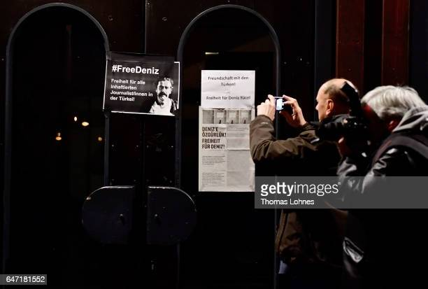 A plakat for the arrested journalist Deniz Yuecel stick at the Festhalle Bad Rotenfels hall after a planned rally for expatriate Turks in favor of...
