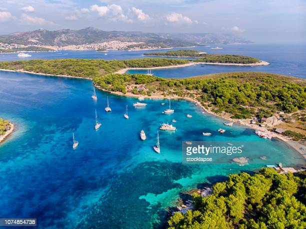 plakinski islands aerial view in a sunny day - hvar stock photos and pictures