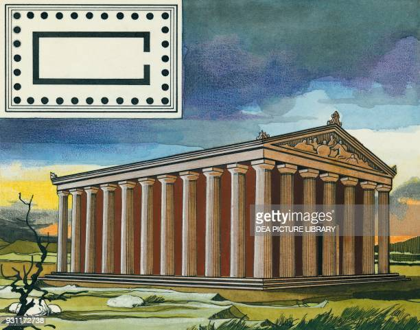 Plan and reconstruction of a Peripteros temple drawing Greece Greek civilization