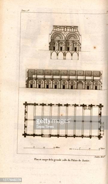 Plan and section of the Great Hall of the Law Courts, Floor plan and cross section Palais de Justice in Paris after p. 342, p. 448, Landon , J. G....