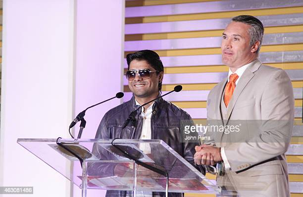 Plan B and Edgardo del Villar attend Billboard Latin 2015 Finalists Nominations Press Conference on February 9 2015 in Doral Florida