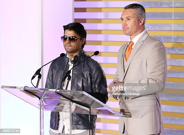 Plan B and Edgardo del Villar attend Billboard Latin 2015 nominess press conference on February 9 2015 in Doral Florida