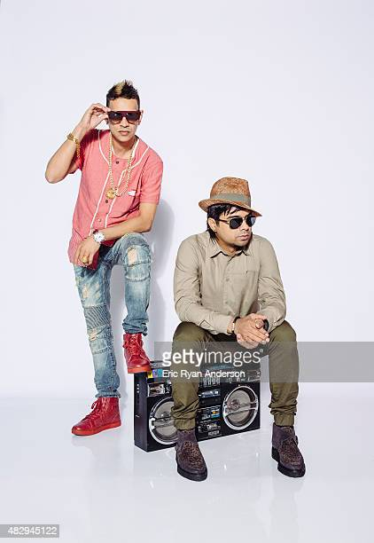 Plan B and radio DJ Alex Sensation pose for a portraits at the 2015 Billboard Latin Music Conference for Billboard Magazine on April 29 2015 in Miami...