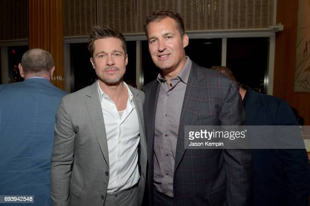 Plan B CoProducer Brad Pitt and Netflx's Scott Stuber attend the Okja New York Premiere Afterparty at Top of the Standard on June 8 2017 in New York...