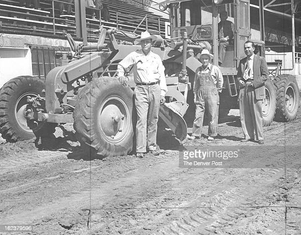 MAY 18 1952 Plan Brush Improvements These three men all officers of the Brush Racing association stand beside part of the equipment being used to...